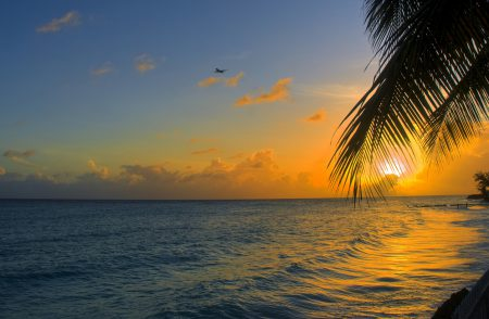sunset on Barbados beach next to our luxury Barbados property.