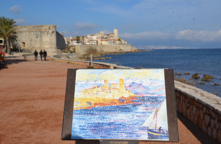 A landscape painting of the Henri-Edmond Cross in Antibes