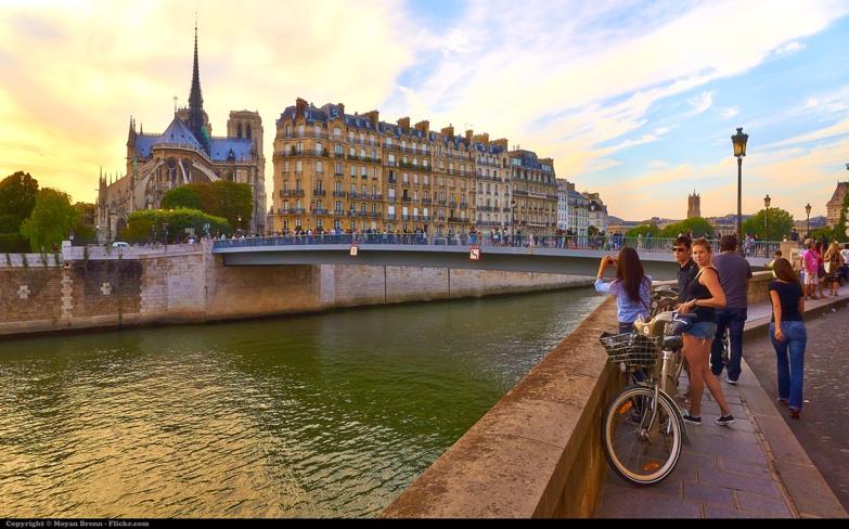 Paris as seen from Ile de St Louis & the Notre Dame de Paris in the background