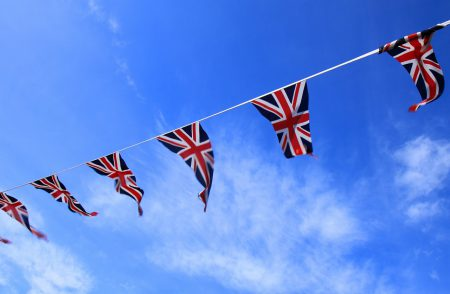 British flags put up for Brexit.