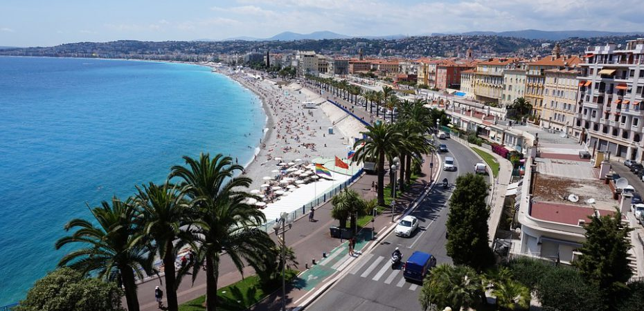 A view over Nice promenade near our luxury French chateau for sale