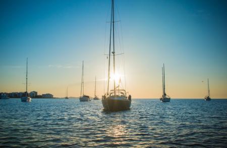 Boats near Ibiza property for sale.