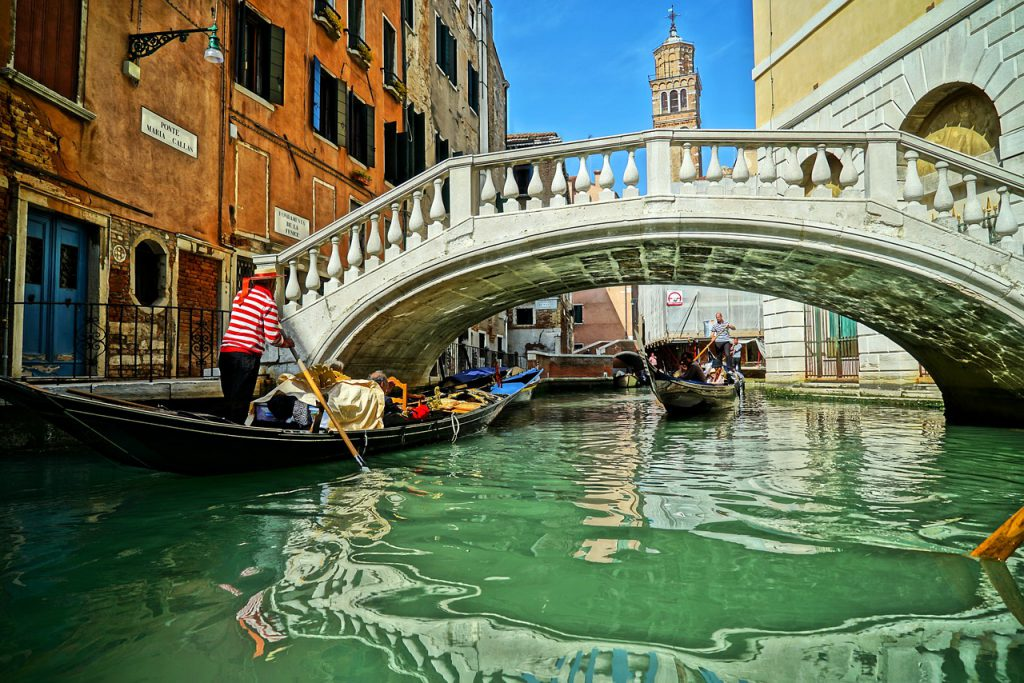 Venetian bridge view from a gondola