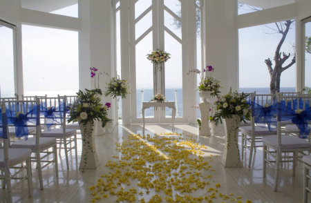 A beautiful wedding venue overlooking the sea