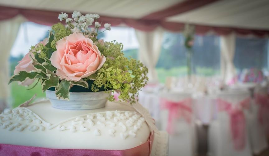 A wedding cake at a wedding venue