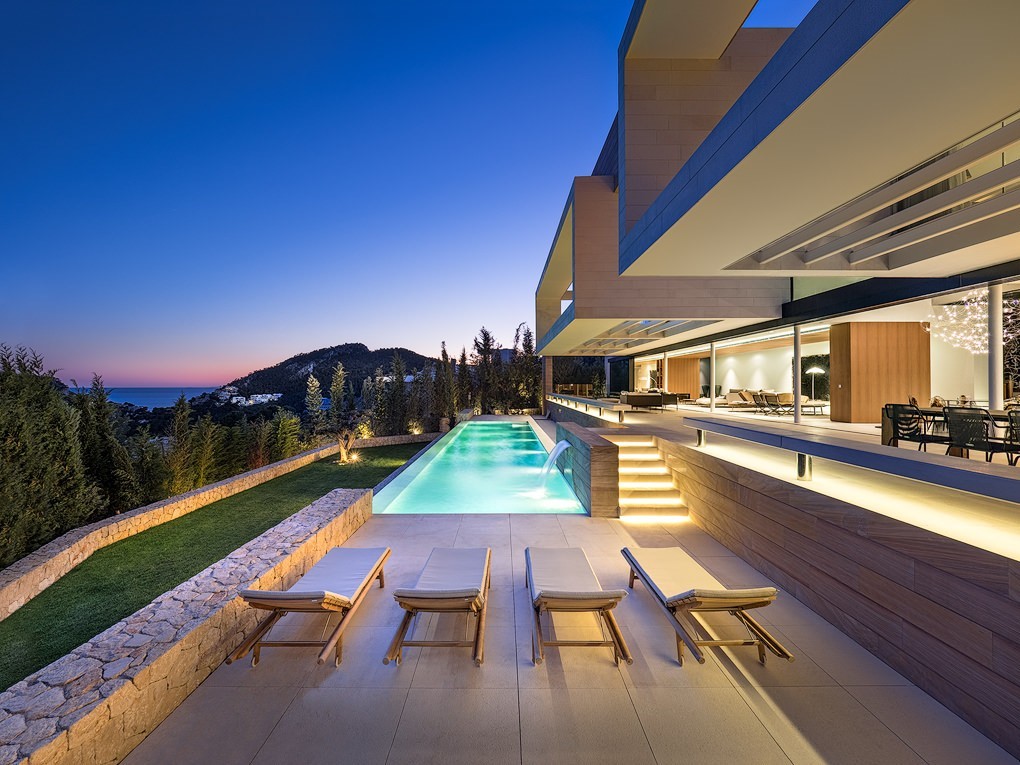 Luxury home pool at night
